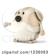Clipart Of A 3d Chubby Dog Presenting 2 Royalty Free Illustration