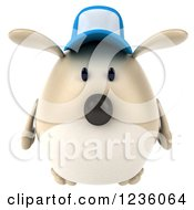 Clipart Of A 3d Chubby Dog Wearing A Baseball Cap Royalty Free Illustration