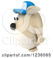 Clipart Of A 3d Chubby Dog Wearing A Baseball Cap And Facing Left Royalty Free Illustration