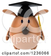 Clipart Of A 3d Chubby Graduate Dog 2 Royalty Free Illustration