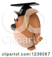 Clipart Of A 3d Chubby Graduate Dog 3 Royalty Free Illustration