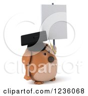 Clipart Of A 3d Chubby Graduate Dog Holding Up A Sign Royalty Free Illustration