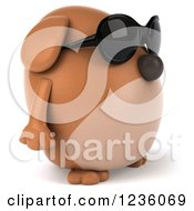 Clipart Of A 3d Chubby Brown Dog Wearing Sunglasses And Facing Right Royalty Free Illustration