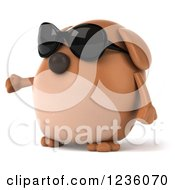 Clipart Of A 3d Chubby Brown Dog Wearing Sunglasses And Presenting Royalty Free Illustration