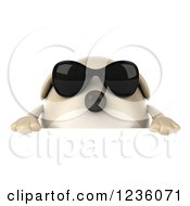 Clipart Of A 3d Chubby Dog Wearing Sunglasses Over A Sign Royalty Free Illustration