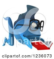 Clipart Of A 3d Bespectacled Blue Fish Reading A Book 2 Royalty Free Illustration