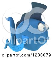 Clipart Of A 3d Sad Blue Fish 2 Royalty Free Illustration