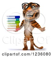Clipart Of A 3d Bespectacled Tiger Holding A Stack Of Books Royalty Free Illustration