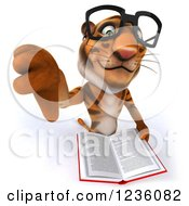 Clipart Of A 3d Bespectacled Tiger Holding A Thumb Down And Reading A Book Royalty Free Illustration