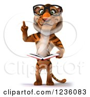 Clipart Of A 3d Bespectacled Tiger Holding Up A Finger And Reading A Book Royalty Free Illustration
