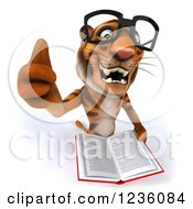 Clipart Of A 3d Bespectacled Tiger Holding A Thumb Up And Reading A Book Royalty Free Illustration