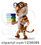 Clipart Of A 3d Bespectacled Tiger Walking With A Stack Of Books 2 Royalty Free Illustration