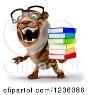 Clipart Of A 3d Bespectacled Tiger Roaring And Holding A Stack Of Books Royalty Free Illustration