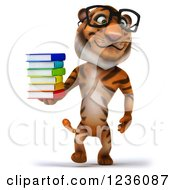 Clipart Of A 3d Bespectacled Tiger Walking With A Stack Of Books Royalty Free Illustration
