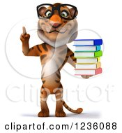Clipart Of A 3d Bespectacled Tiger Holding Up A Finger And A Stack Of Books Royalty Free Illustration