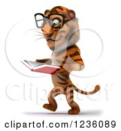 Clipart Of A 3d Bespectacled Tiger Walking And Reading A Book 2 Royalty Free Illustration