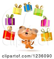 Clipart Of A 3d Ginger Cat Jumping Under Floating Presents Royalty Free Illustration