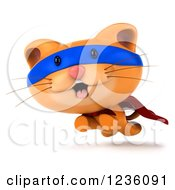 Clipart Of A 3d Super Hero Ginger Cat Running Royalty Free Illustration