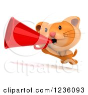 Clipart Of A 3d Ginger Cat Running With A Megaphone Royalty Free Illustration