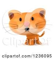 Clipart Of A 3d Happy Ginger Cat Royalty Free Illustration