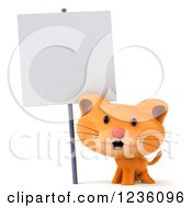 Clipart Of A 3d Ginger Cat Under A Sign Post Royalty Free Illustration