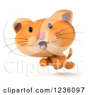 Clipart Of A 3d Happy Ginger Cat Running Royalty Free Illustration