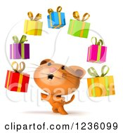 Clipart Of A 3d Ginger Cat Under Floating Presents Royalty Free Illustration