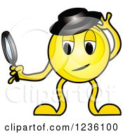 Yellow Detective Emoticon With A Hat And Magnifying Glass