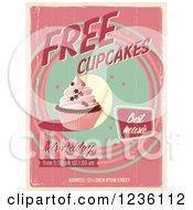 Distressed Retro Pink Free Cupcakes Poster