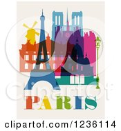 Clipart Of Colorful Buildings And Landmarks Of Paris On Beige Royalty Free Vector Illustration