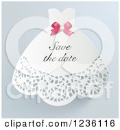 Doily Wedding Dress Save The Date Invitation