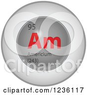 Clipart Of A Round Red And Silver Americium Chemical Element Icon Royalty Free Vector Illustration