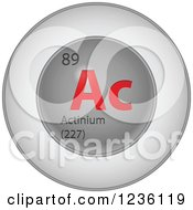 3d Round Red And Silver Actinium Chemical Element Icon
