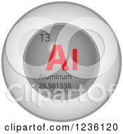 3d Round Red And Silver Aluminum Chemical Element Icon