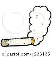 Clipart Of A Smoking Cigarette Royalty Free Vector Illustration