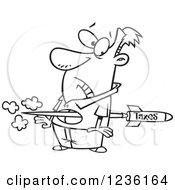 Clipart Of A Black And White Tax Rocket Shooting Through A Mans Torso Royalty Free Vector Illustration