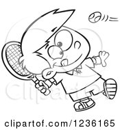 Clipart Of A Black And White Boy Swinging A Tennis Racket Royalty Free Vector Illustration