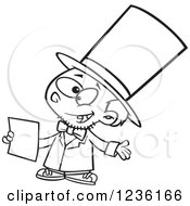 Clipart Of A Black And White Boy Role Playing As Abraham Lincoln Royalty Free Vector Illustration