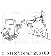 Clipart Of A Black And White Man Removing A Bug From His Computer Royalty Free Vector Illustration by toonaday