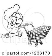 Clipart Of A Black And White Fast Girl Running With A Shopping Cart Royalty Free Vector Illustration