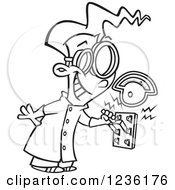 Clipart Of A Black And White Mad Scientist Boy Pulling An Electric Switch Royalty Free Vector Illustration