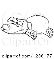 Clipart Of A Black And White Exhausted Happy Dog Sprawled Out Royalty Free Vector Illustration