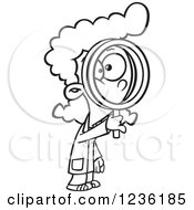 Clipart Of A Black And White Scientist Girl Looking Through A Magnifying Glass Royalty Free Vector Illustration