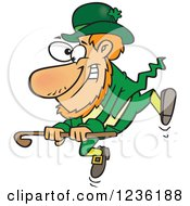 Clipart Of A St Patricks Day Leprechaun Dancing With A Cane Royalty Free Vector Illustration by Ron Leishman