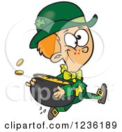 Clipart Of A St Patricks Day Leprechaun Boy Running With A Pot Of Gold Royalty Free Vector Illustration by toonaday