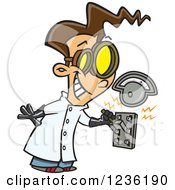 Clipart Of A Brunette Mad Scientist Boy Pulling An Electric Switch Royalty Free Vector Illustration