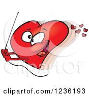 Clipart Of A Red Valentine Heart Swinging On A Rope Royalty Free Vector Illustration by toonaday