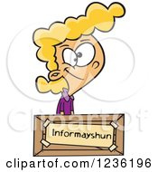 Clipart Of A Blond Girl At An Information Desk With A Mis Spelled Sign Royalty Free Vector Illustration by toonaday