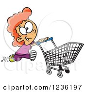 Clipart Of A Red Haired Fast Girl Running With A Shopping Cart Royalty Free Vector Illustration by toonaday