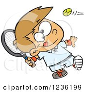Clipart Of A Caucasian Boy Swinging A Tennis Racket Royalty Free Vector Illustration